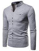 お買い得  メンズTシャツ&タンクトップ-男性用 Tシャツ ストリートファッション Vネック ソリッド ホワイト L / 長袖