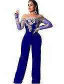 povoljno Ženski jednodijelni kostimi-Žene Dnevno Osnovni Bez naramenica Crn Red Wide Leg Jumpsuits, Geometrijski oblici M L XL Dugih rukava