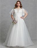 povoljno Vjenčanice-A-kroj Ovalni izrez Jako kratki šlep Til Izrađene su mjere za vjenčanja s Čipka po LAN TING BRIDE® / Predivna leđa