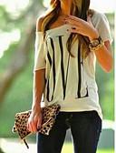 abordables Camisetas para Mujer-Mujer Básico Un Hombro Camiseta, Un Hombro Geométrico Blanco M / Primavera / Verano / Otoño