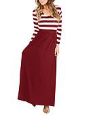 رخيصةأون فساتين طويلة-فستان نسائي متموج أساسي بقع / طباعة طويل للأرض لون سادة