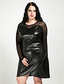 cheap Women's Dresses-Women's Plus Size Daily Vintage Shift Dress - Solid Colored Mesh Fall White Black XXXXL XXXXXL XXXXXXL