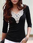 baratos Saias Femininas-Mulheres Camiseta - Para Noite Bordado Decote V Preto & Branco