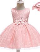 זול שמלות לבנות-שמלה כותנה א-סימטרי ללא שרוולים תחרה אחיד Party פעיל / בסיסי בנות תִינוֹק