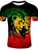 お買い得  メンズTシャツ&タンクトップ-男性用 プリント プラスサイズ Tシャツ ベーシック ラウンドネック 3D コットン ブラック XXL / 半袖