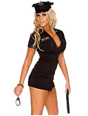 cheap Exotic Uniforms-Police Career Costumes Cosplay Costume Party Costume Women's Kid's Police Uniforms Halloween Carnival Festival / Holiday Terylene Outfits Black Solid Colored