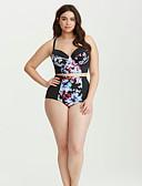 povoljno One-piece swimsuits-Žene Crn Cheeky gaćice Bikini Kupaći kostimi - Geometrijski oblici Print XXL XXXL XXXXL