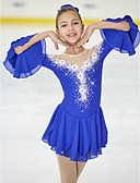cheap Ice Skating Dresses , Pants & Jackets-Figure Skating Dress Women's / Girls' Ice Skating Dress Blue Flower High Elasticity Training / Competition Skating Wear Breathable, Handmade Fashion / Floral / Botanical / Dumb Light Half Sleeve Ice