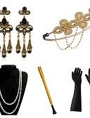 cheap Historical & Vintage Costumes-The Great Gatsby Vintage 1920s The Great Gatsby Roaring 20s Costume Women's Gloves Headpiece Flapper Headband Head Jewelry Earrings Black+Sliver / Golden+Black / Red+Golden Vintage Cosplay