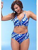 お買い得  マキシドレス-女性用 ブルー チーキー ビキニ スイムウェア - 幾何学模様 プリント XXL XXXL XXXXL