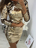 cheap Party Dresses-Women's Party Birthday Basic Mini Slim Sheath Dress - Solid Colored Sequins Spring Gold M L XL / Sexy