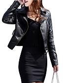 お買い得  女児 ドレス-女性用 日常 ストリートファッション ショート ジャケット, ソリッド シャツカラー 長袖 ポリウレタン ブラック / ワイン XL / XXL / XXXL / スリム