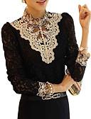 זול עליוניות לנשים-טלאים עומד תחרה, חולצה - בגדי ריקוד נשים קצוות תחרה שחור ולבן / סתיו