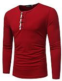 preiswerte Herren T-Shirts & Tank Tops-Herrn Solide - Grundlegend T-shirt, Rundhalsausschnitt Rote XL / Langarm