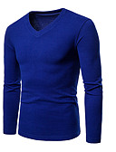cheap Men's Shirts-Men's Basic / Street chic Asian Size T-shirt - Solid Colored / V Neck / Long Sleeve