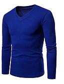 abordables Camisetas y Tops de Hombre-Hombre Básico / Chic de Calle Camiseta, Escote en Pico Un Color Gris Oscuro L / Manga Larga