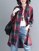 economico Vestiti a fantasia-Camicia Per donna Moda città A quadri