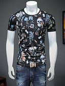 お買い得  メンズTシャツ&タンクトップ-男性用 アジア人サイズ Tシャツ ストリートファッション ラウンドネック フラワー / 幾何学模様 / スカル / 半袖