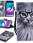 זול מגנים לטלפון-מגן עבור Samsung Galaxy J3 (2016) ארנק / מחזיק כרטיסים / עמיד בזעזועים כיסוי מלא חתול קשיח עור PU