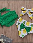 baratos Roupas de Banho para Meninas-Infantil Para Meninas Estilo bonito Praia Fruta Estampado Sem Manga Roupa de Banho Verde