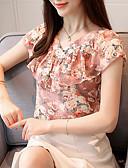 preiswerte Hemd-Damen Blumen Bluse, V-Ausschnitt Schlank Rüsche