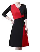 tanie Print Dresses-Damskie Puszysta Podstawowy Pochwa Sukienka - Kolorowy blok W serek Wysoka talia Midi / Seksowny