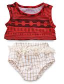 billige Sett med babyklær-Baby Jente Aktiv Daglig Trykt mønster Ermeløs Normal Polyester Tøysett Rød