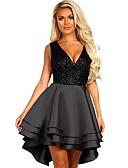tanie Sukienki sylwestrowe-Damskie Elegancja Linia A Sukienka - Kolorowy blok, Falbana / Patchwork Do kolan
