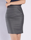cheap Bikinis-Women's Daily Work / Basic Bodycon Skirts - Solid Colored Fashion High Waist Black Gray Khaki / Slim
