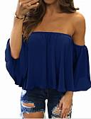رخيصةأون قمصان نسائية-نسائي كشكش / موضة قياس كبير قميص, لون سادة دون الكتف / الربيع / الصيف / الخريف / الشتاء
