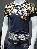 billige Herreskjorter-Rund hals Herre - Blomstret / Tribal Bomuld Vintage / Basale Plusstørrelser T-shirt Hvid XXL / Kortærmet