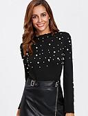 povoljno Ženski džemperi-Žene Dnevno Jednobojni Dugih rukava Regularna Pullover Crn S / M / L