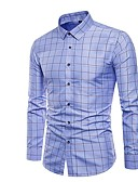 cheap Steel Band Watches-Men's Slim Shirt - Solid Colored / Plaid Blue XXXL / Long Sleeve