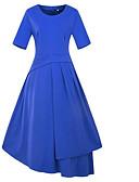 זול מלכת הוינטאג'-צווארון עגול קצר מידי שרוכים לכל האורך, אחיד - שמלה גזרת A רזה בגדי ריקוד נשים