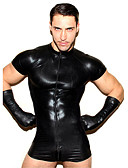 cheap Zentai Suits-Zentai Suits Skin Suit Ninja Adults' Cosplay Costumes Leotards Sex Black Patchwork Tulle Patent Leather Polyster Men's Halloween Carnival Masquerade