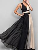 رخيصةأون فساتين طويلة-فستان نسائي ثوب ضيق / شيفون أساسي بدون ظهر طويل للأرض ألوان متناوبة