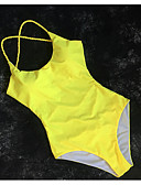 cheap One-piece swimsuits-Women's Yellow Cheeky One-piece Swimwear - Solid Colored S M L Yellow / Sexy