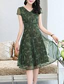 cheap Plus Size Dresses-Women's Plus Size Daily Going out Sophisticated Elegant Petal Sleeves Chiffon Dress - Geometric Pleated Print V Neck Summer Green Red XXL XXXL XXXXL / Sexy
