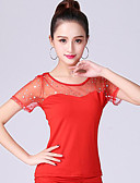 billige T-skjorter til damer-Ballroom-dans Topper Dame Trening / Ytelse Polyester / Netting Kombinasjon Kortermet Topp