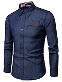 """זול חולצות לגברים-קולור בלוק צווארון קלאסי עסקים / בסיסי עבודה האיחוד האירופי / ארה""""ב גודל כותנה, חולצה - בגדי ריקוד גברים כחול נייבי / שרוול ארוך / קיץ"""