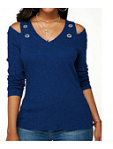 cheap The Must Have Styles-Women's Cotton T-shirt - Solid Colored V Neck Navy Blue XXXL