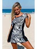 cheap One-piece swimsuits-Women's Basic Strap White Halter Briefs One-piece Swimwear - Geometric Tropical Leaf Print XL XXL XXXL White / Super Sexy