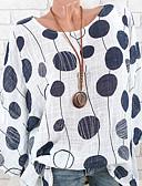 저렴한 블라우스-여성용 도트무늬 루즈핏 가오리핏 프린트 - 블라우스, 스트리트 쉬크 화이트 XXXL