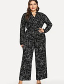 cheap Historical & Vintage Costumes-Women's Plus Size Daily Street chic V Neck Black Jumpsuit, Letter Print XXL XXXL XXXXL Long Sleeve
