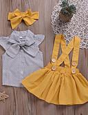 Χαμηλού Κόστους Βρεφικά φορέματα-Μωρό Κοριτσίστικα Ενεργό Καθημερινά Πουά Με Κορδόνια Κοντομάνικο Κανονικό Βαμβάκι / Πολυεστέρας Σετ Ρούχων Κίτρινο