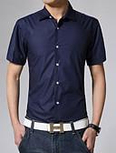 hesapli Erkek Gömlekleri-Erkek Pamuklu Klasik Yaka Gömlek Solid İş / Temel Çalışma AB / ABD Beden Haki / Kısa Kollu / Yaz