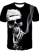 abordables Camisetas y Tops de Hombre-Hombre Básico / Chic de Calle Discoteca Estampado Camiseta, Escote Redondo Cráneos Negro XXXL / Manga Corta