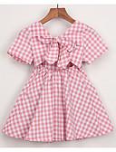 お買い得  女児 ドレス-幼児 女の子 活発的 日常 千鳥格子 半袖 膝上 ポリエステル ドレス ブルー