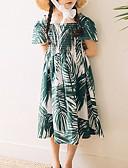 お買い得  女児 ドレス-子供 女の子 ベーシック 幾何学模様 長袖 ドレス グリーン