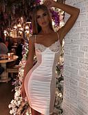 billige Kjoler til nytårsaften-Dame Elegant Tynd Skede Kjole - Ensfarvet, Blonder Patchwork Over knæet Med stropper / Sexy